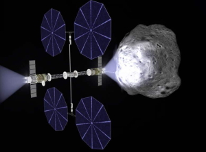 Near-Earth asteroid deflection mission based on Ad Astra's Viento solar electric propulsion spacecraft equipped with VF-200-class VASIMR engines.
