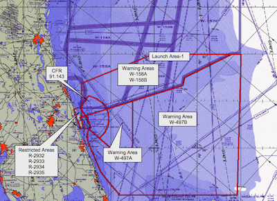 "A map of restricted airspace for the Falcon 9 launch released by the U.S. Air Force 45th Space Wing. The ""warning areas"" offshore are in international airspace and outside of the FAA's jurisdiction, while aircraft are prohibited from flying in the regions labeled ""CFR 91.143"" and in the ""restricted areas"" over land."