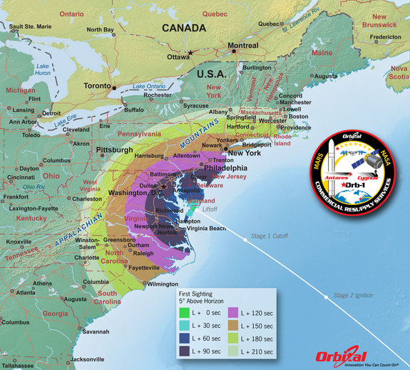 This map shows the rough time at which you can first expect to see Antares after it is launched.
