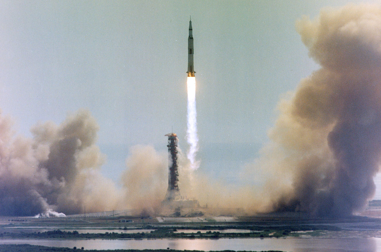 The rocket that Neil Armstrong rode: Apollo 11's Saturn V lifts off from Kennedy Space Center in Florida on July 16, 1969.  Credit: NASA