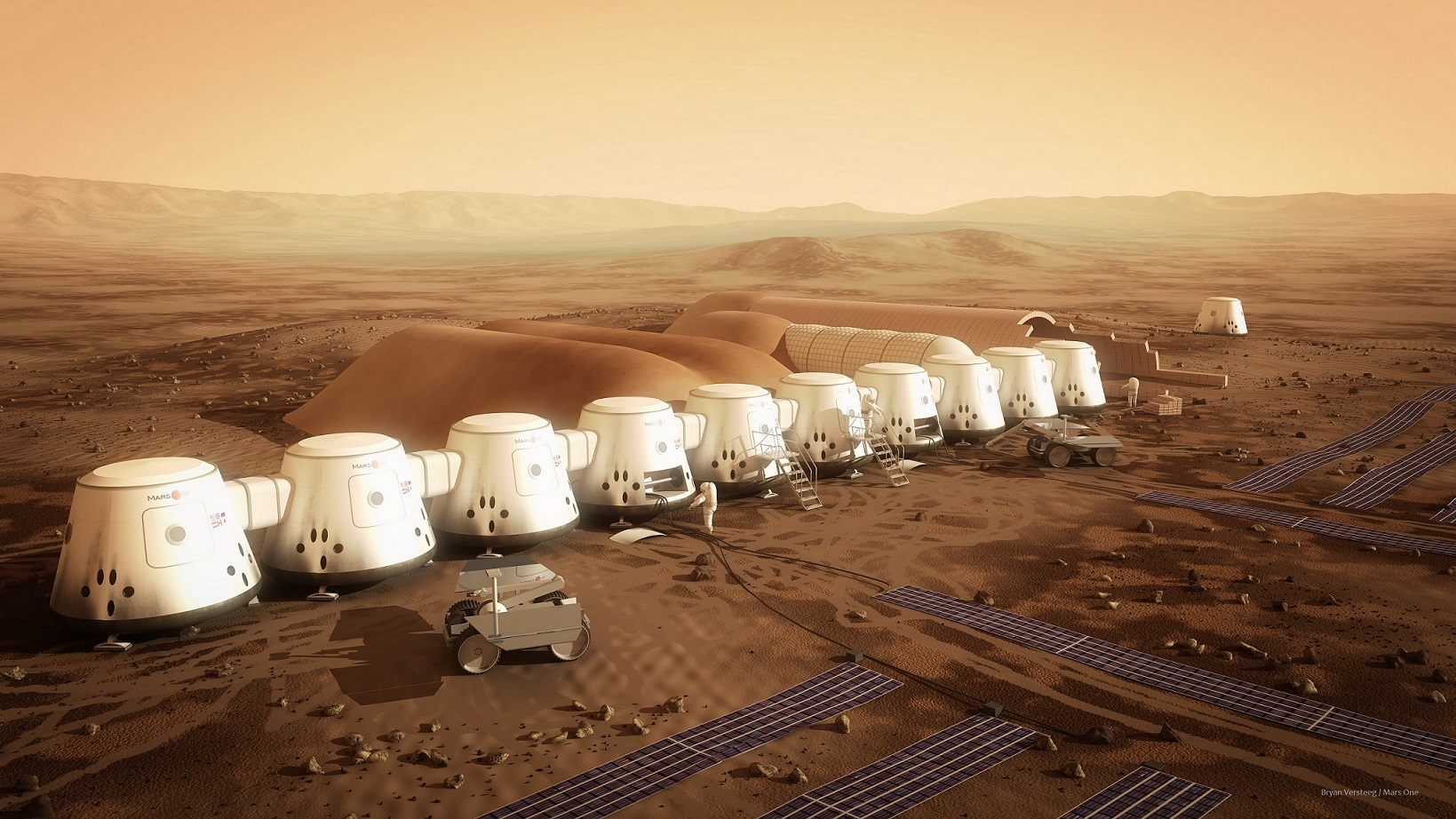 All components of Mars One's settlement are slated to reach their destination by 2021. The hardware includes two living units, two life-support units, a second supply unit and two rovers. Credit: Bryan Versteeg/Mars One