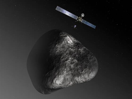 An artist's impression of the Rosetta orbiter deploying the Philae lander to comet 67P/Churyumov–Gerasimenko in August 2014
