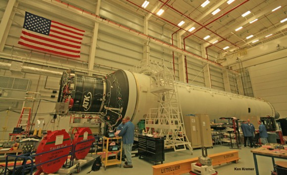 Antares rocket slated for Jan. 8, 2014 launch undergoes processing at the Horizontal Integration Facility at NASA Wallops, Virginia, during exclusive visit by Ken Kremer/Universe Today.