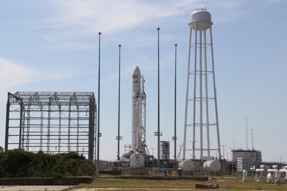 Antares rocket and Cygnus spacecraft at Launch Pad 0A at NASA Wallops Flight Facility Facility, VA. LADEE lunar mission launch pad 0B stands adjacent to right of Antares.